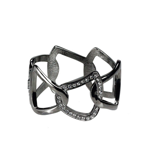 """Jet Silvertone Abstract Chain and Crystal Fashion Jewelry Cuff Bracelet 8"""" - IMAGE 1"""