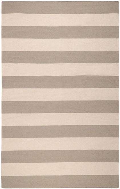 5' x 8' Accumbent Striped Gray and Beige Hand Woven Rectangular Wool Area Throw Rug - IMAGE 1