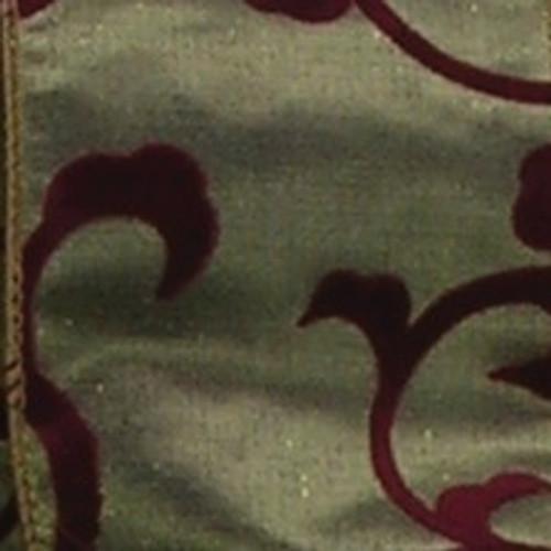 "Hunter Green and Burgundy Red Swirl Wired Craft Ribbon 2.5"" x 20 Yards - IMAGE 1"
