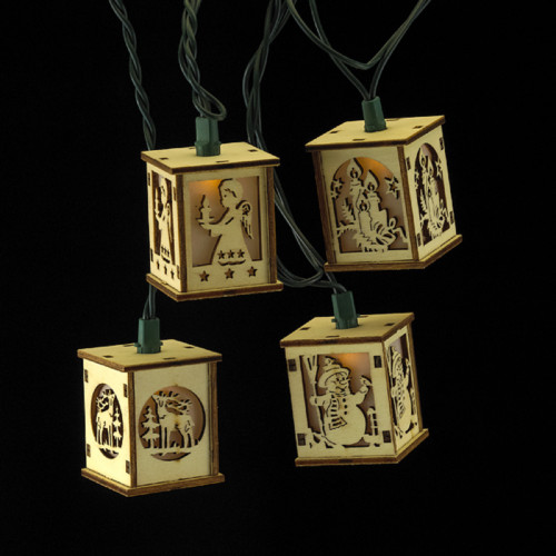 10-Count Brown Cut-Out Lanterns Novelty Christmas Light Set, 9ft Green Wire - IMAGE 1