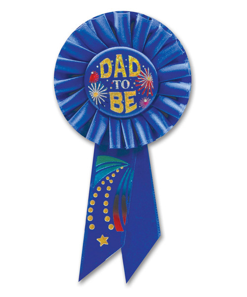 """Pack of 6 Blue """"Dad to Be"""" Baby Shower Party Celebration Rosette Ribbons 6.5"""" - IMAGE 1"""