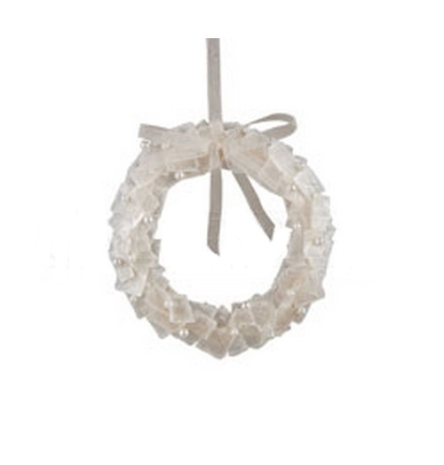 """5"""" Pearl White Winter Artificial Christmas Wreath Ornament - IMAGE 1"""