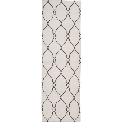 2.5' x 8' Beige and Brown Damask Hand Tufted Wool Area Throw Rug Runner - IMAGE 1