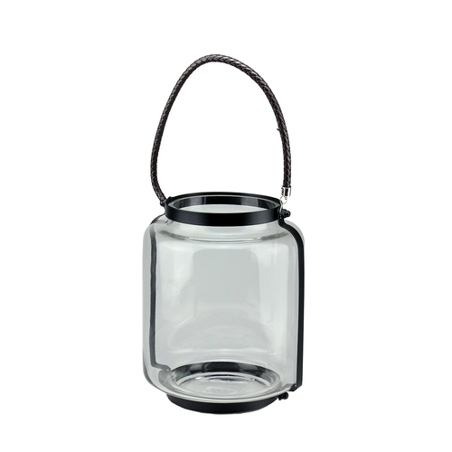 "18"" Clear Glass Hurricane Pillar Candle Lantern with Jet Black Metal Frame - IMAGE 1"