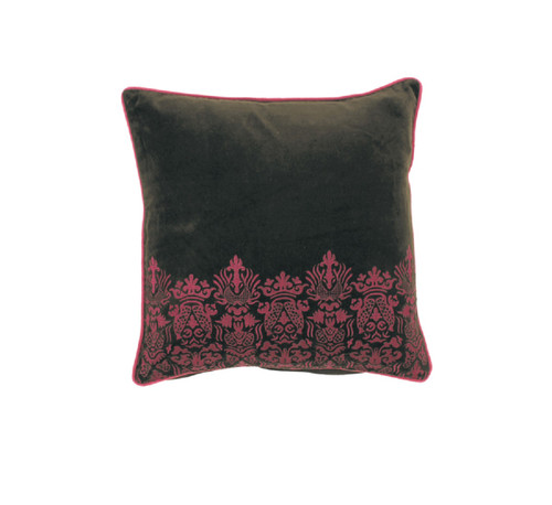 """18"""" Red and Black Square Throw Pillow with Cord Trim Broader - Down Filler - IMAGE 1"""