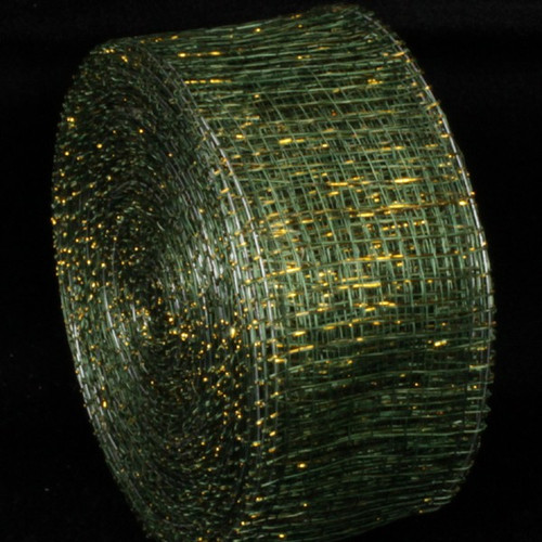 """Forest Green and Gold Wired Sinamay Abacá Fiber Ribbon 2"""" x 64 Yards - IMAGE 1"""
