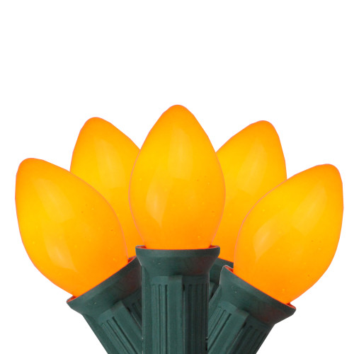 25-Count Orange Opaque C7 Christmas Light Set, 24ft Green Wire - IMAGE 1