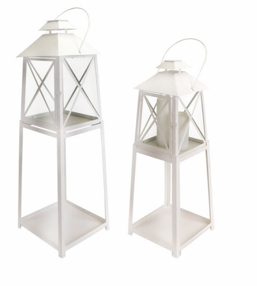 Set of 2 Cape Cod Wellfleet White Iron and Glass Pillar Candle Lantern Stands - IMAGE 1