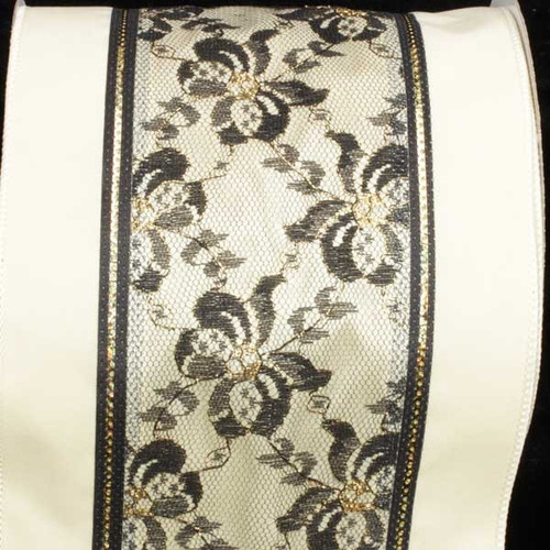 """Ivory and Black Print Wired Craft Ribbon 6"""" x 10 Yards - IMAGE 1"""
