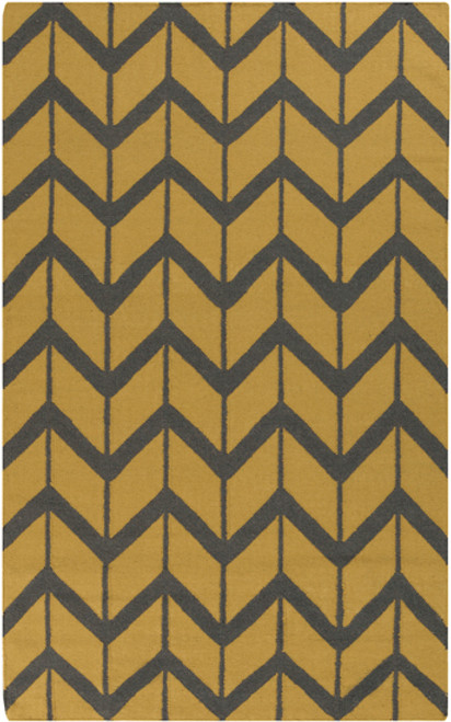 3.5' x 5.5' Chevron Pathway Olive Green and Gray Hand Woven Wool Area Throw Rug - IMAGE 1