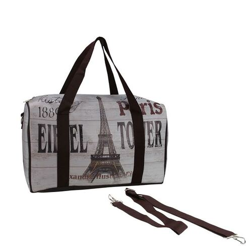 """16"""" Gray Vintage-Style Eiffel Tower French Theme Travel Bag with Handles and Crossbody Strap - IMAGE 1"""