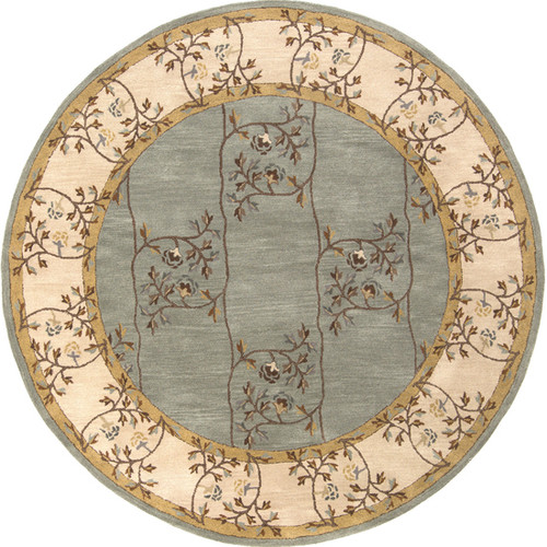6' Gray and Brown Round Hand Tufted Wool Area Throw Rug - IMAGE 1