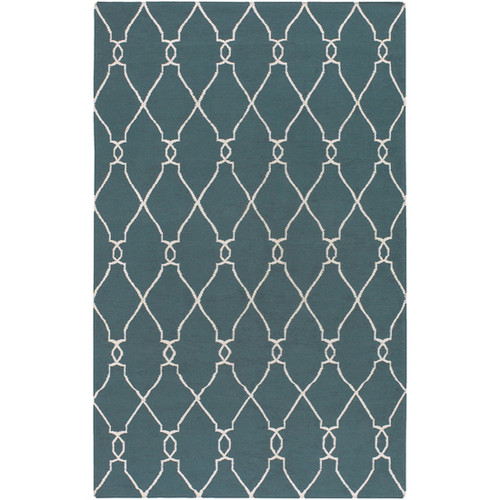 3.5' x 5.5' Damask Blue and Beige Hand Tufted Wool Area Throw Rug - IMAGE 1