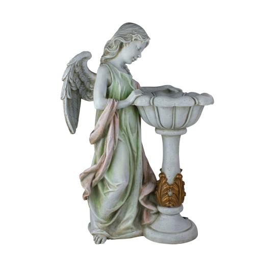 "23"" Joseph's Studio Angel Outdoor Garden Statue with Solar Powered Bird Bath - IMAGE 1"