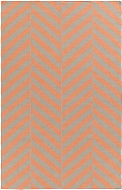 3.5' x 5.5' Herringbone Orange and Gray Hand Woven Wool Area Throw Rug - IMAGE 1