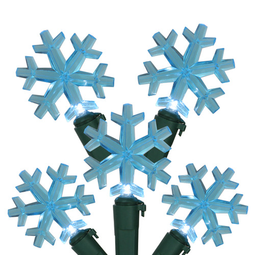 20-Count Blue LED Snowflake Christmas Light Set - 6 ft Green Wire - IMAGE 1