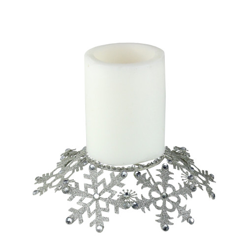 """9"""" Silver Snowflake Glittered and Jeweled Christmas Pillar Candle Holder - IMAGE 1"""