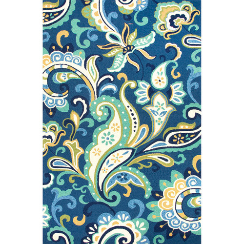 2' x 3' Sea Green Sandy Tan and White Calico Hand Hooked Outdoor Area Throw Rug - IMAGE 1