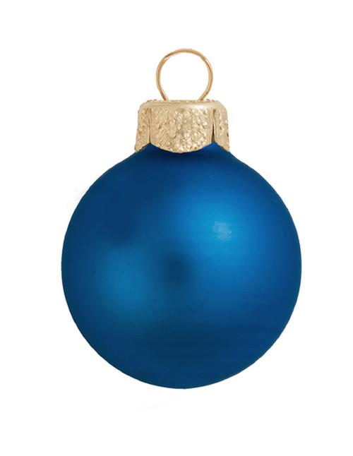 "6ct Matte Cobalt Blue Glass Ball Christmas Ornaments 4"" (100mm) - IMAGE 1"