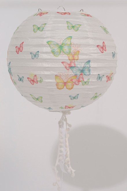 """9"""" L'Eau de Fleur White Butterfly and Floral Chinese Paper Lantern with White Tassels - IMAGE 1"""