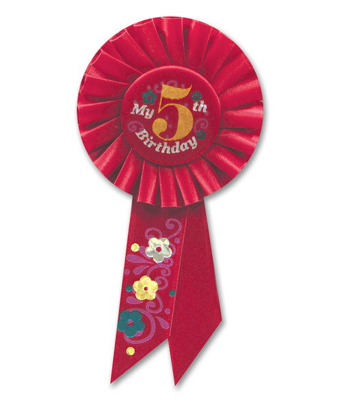 "Pack of 6 Red ""My 5th Birthday"" Party Rosette Ribbons 6.5"" - IMAGE 1"