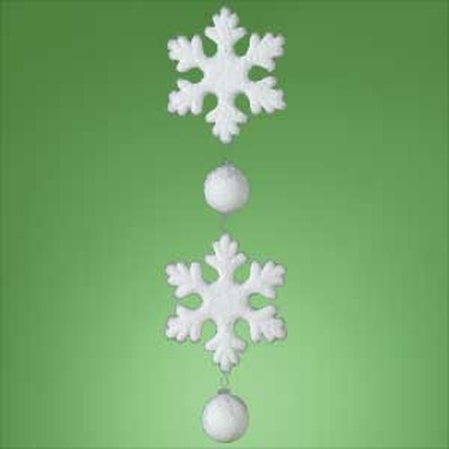 """24"""" White Holiday Collections Dangling Snowflake Christmas Ornament - IMAGE 1"""