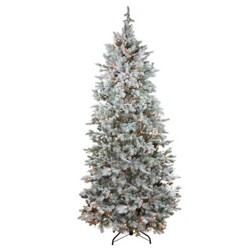 7.5' Pre-Lit Flocked Slim Colorado Spruce Artificial Christmas Tree - Clear Dura-Lit Lights - IMAGE 1