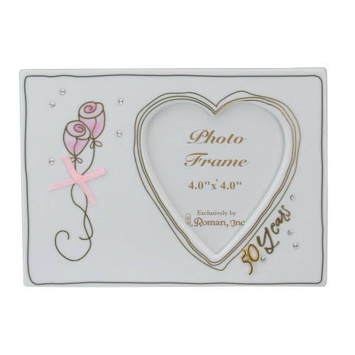 """7.25"""" White 50th Wedding Anniversary Heart Picture Frame for 4"""" x 4"""" Photo - IMAGE 1"""