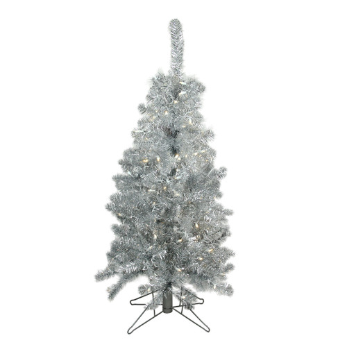 4' Pre-Lit Medium Silver Tinsel Artificial Christmas Tree - Clear Lights - IMAGE 1
