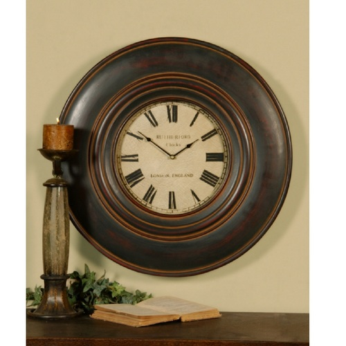 "23.75"" Brown Round Vintage Wooden Wall Clock - IMAGE 1"