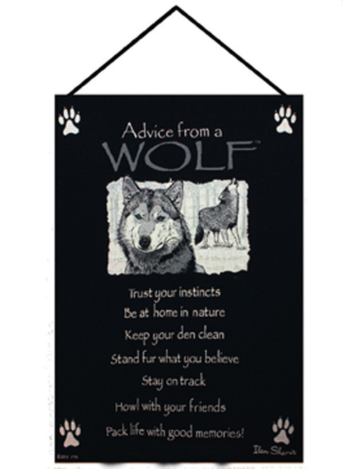 """Black and White """"Advice from a Wolf"""" Wall Art Hanging Tapestry 26"""" x 17"""" - IMAGE 1"""
