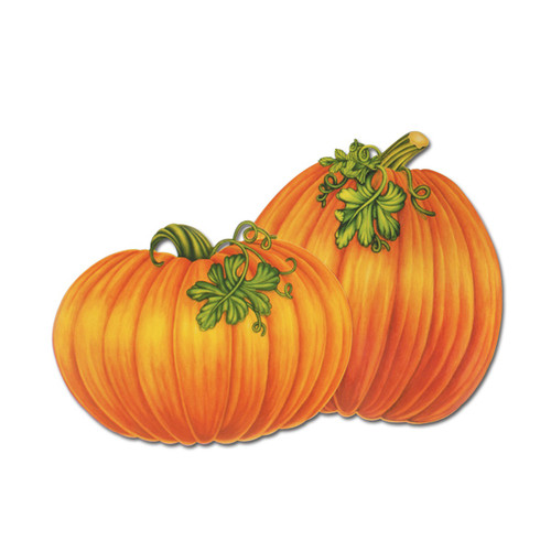 """Club Pack of 48 Orange and Green Festive Pumpkin Thanksgiving Cutout Decorations 15.5"""" - IMAGE 1"""