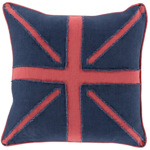 """18"""" Blue and Red Printed Square Handmade Throw Pillow - IMAGE 1"""