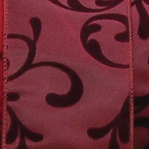 "Burgundy Red Swirl Wired Craft Ribbon 2.5"" x 20 Yards - IMAGE 1"