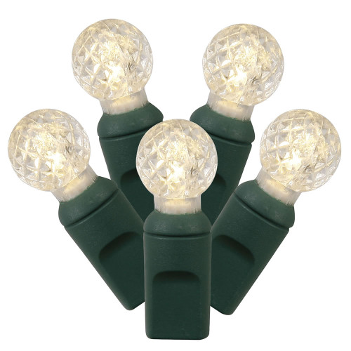 100ct White LED G12 Berry Christmas Lights - 33 ft Green Wire - IMAGE 1