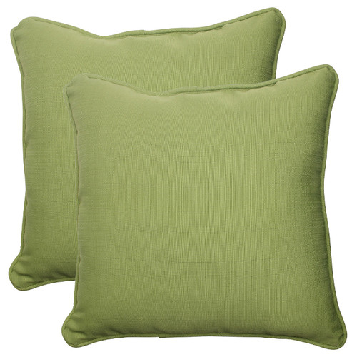 """Set of 2 Olive Green Solid Outdoor Patio Square Throw Pillows 18.5"""" - IMAGE 1"""