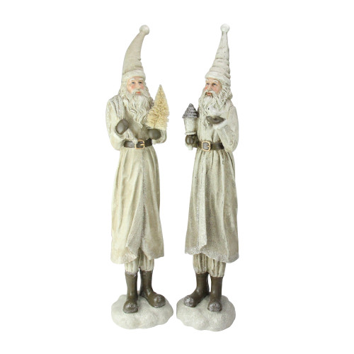 "Set of 2 Beige Old World Santa Claus Christmas Tabletop Figures 25"" - IMAGE 1"