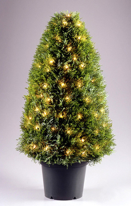 3' Pre-lit Potted Artificial Upright Juniper Tree - 70 Clear Lights - IMAGE 1