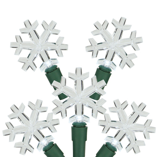 20-Count White LED Snowflake Christmas Light Set - 6 ft Green Wire - IMAGE 1