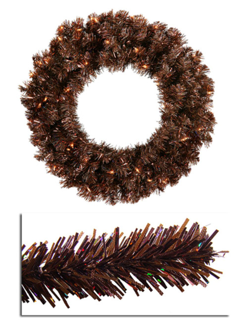 Pre-Lit Brown Sparkling Artificial Christmas Wreath - 36-Inch, Clear Lights - IMAGE 1