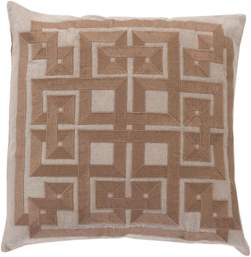 "18"" Brown and Beige Contemporary Square Throw Pillow - Down Filler - IMAGE 1"