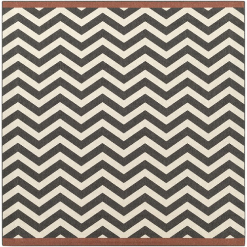 8.75' x 8.75' Brown and Black Machine Woven Square Outdoor Area Throw Rug - IMAGE 1