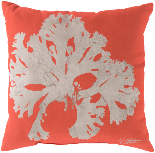 "18"" Orange and Beige Contemporary Arbol Square Throw Pillow Cover - IMAGE 1"