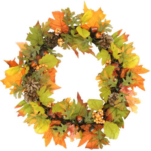 Autumn Harvest Maple Leaf Artificial Thanksgiving Wreath - 20-Inch, Unlit - IMAGE 1