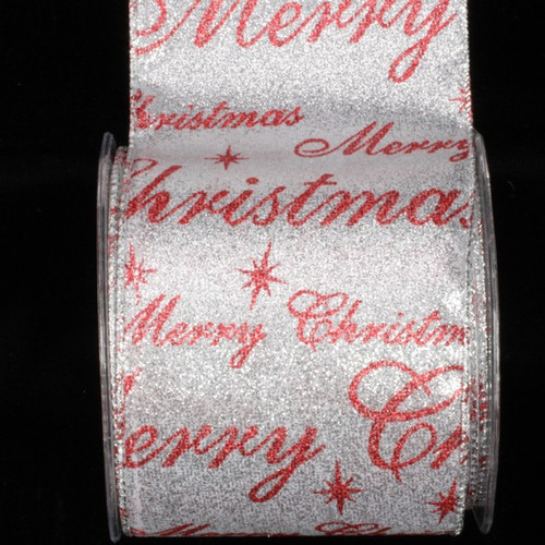 """Silver and Red Merry Christmas Wired Craft Ribbon 4"""" x 20 Yards - IMAGE 1"""