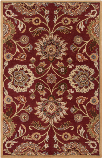6' x 9' Floral Red and Beige Hand Tufted Rectangular Wool Area Throw Rug - IMAGE 1