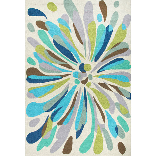 5' x 7.5' Sage Green, Silver Gray and Ocean Blues Outdoor Flowerburst Area Throw Rug - IMAGE 1