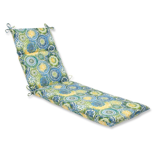 """72.5"""" Laguna Mosaico Blue, Green and Yellow Outdoor Patio Chaise Lounge Cushion - IMAGE 1"""
