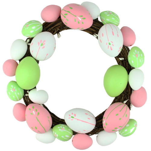 Floral Stem Easter Egg Spring Grapevine Wreath, Pink and Green 10-Inch - IMAGE 1