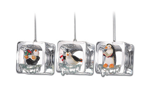 """Club Pack of 18 Clear Icy Crystal Decorative Christmas Penguin Ice Cube Ornaments 2"""" - IMAGE 1"""